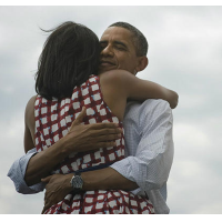 This photo of President Barack Obama hugging his wife Michelle was posted on Twitter and Facebook at the moment Obama was declared the winner of the 2012 presidential election and became the most popular photograph ever on both sites.